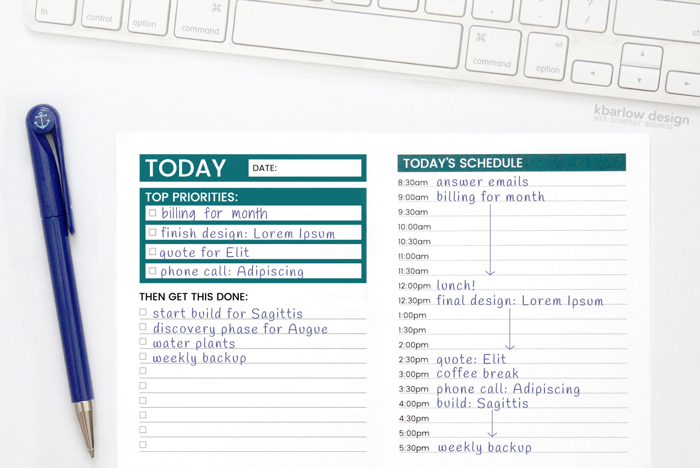 The Ultimate To Do List + Daily Scheduler - Productivity Planners | kbarlowdesign.com