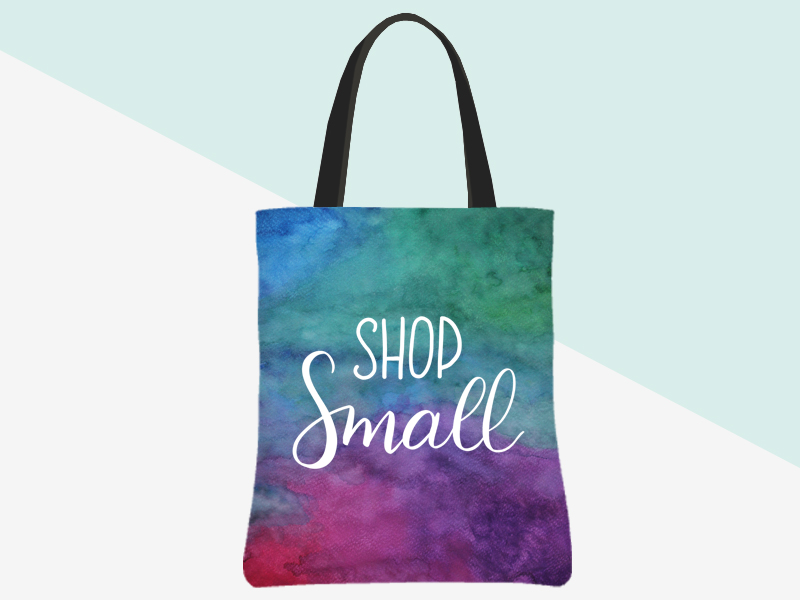 Shop Small Tote (watercolour/white lettering) | kbarlowdesign.com/shop