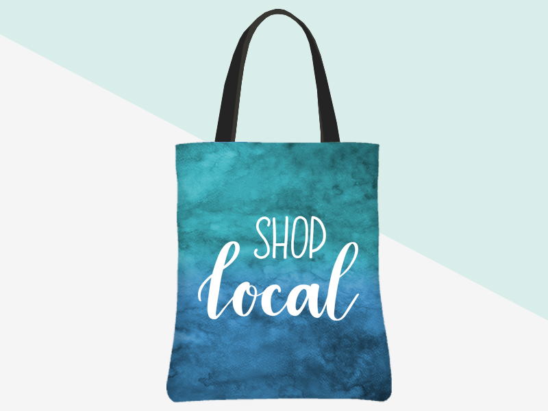 Shop Local Tote (blue-green watercolour background/white lettering) | kbarlowdesign.com/shop