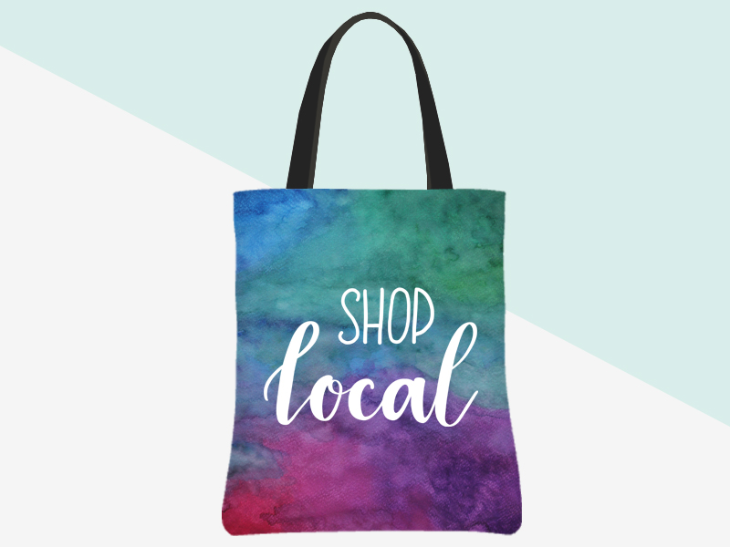 Shop Local Tote (watercolour background, white hand lettering) | kbarlowdesign.com/shop