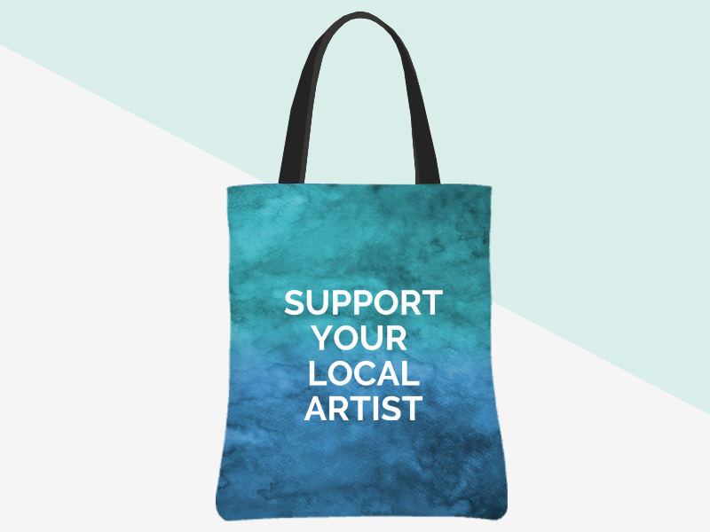 Support Your Local Artist Tote (blue/green watercolour background, white text) | kbarlowdesign.com/shop