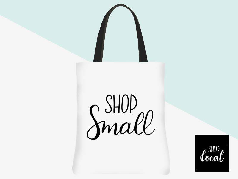 Shop Small Tote (white/black lettering) | kbarlowdesign.com/shop