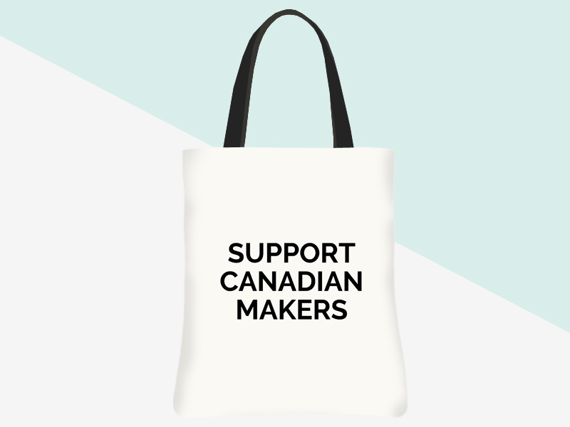 Support Canadian Makers Tote - (white/black) | kbarlowdesign.com/shop