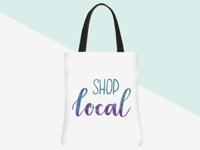 Shop Local Tote (white/watercolour lettering) | kbarlowdesign.com/shop