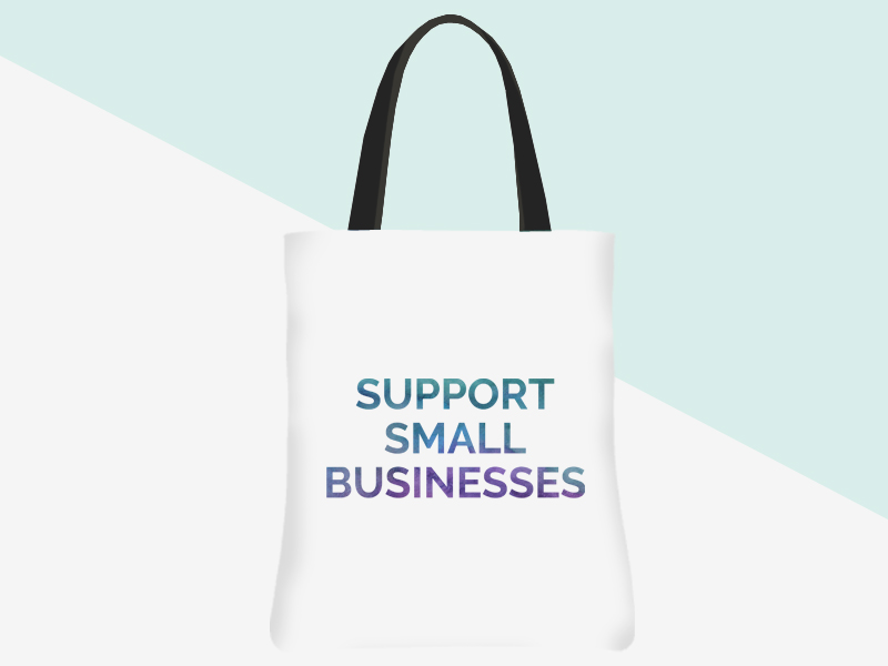 Support Small Businesses Tote (white/watercolour text) | kbarlowdesign.com/shop