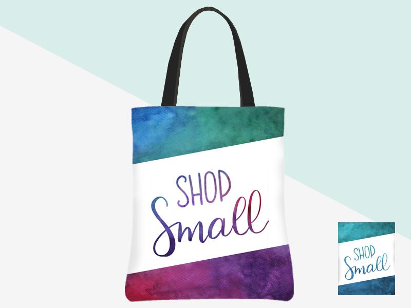 Shop Small Tote (watercolour with white banner/watercolour lettering) | kbarlowdesign.com/shop