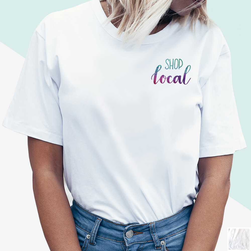 Shop Local Tee (watercolour hand lettering) | kbarlowdesign.com/shop