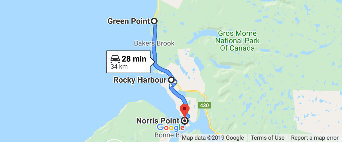Newfoundland - Gros Morne Day 6 map